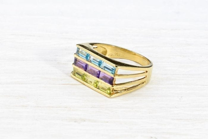 Bague pierres fines en or jaune 18k