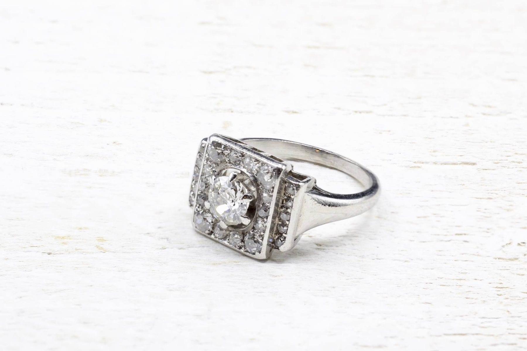 Bague diamants vintage en platine