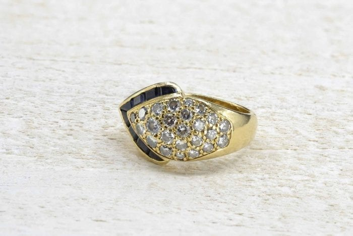 Bague diamants et saphirs en or jaune 18k